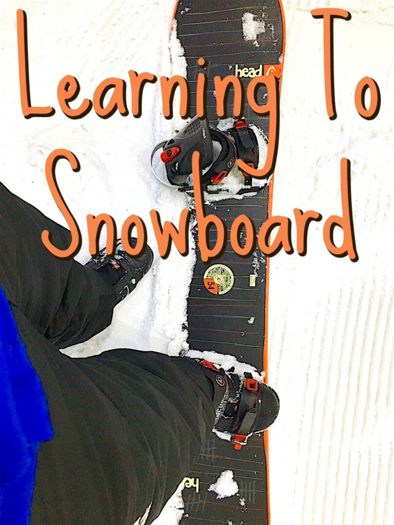 Learning to snowboard title