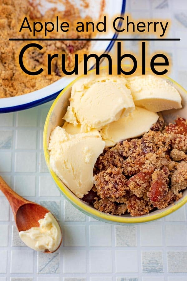 A classic apple crumble with a twist. Why just have apples when you can have cherries too? This Apple and Cherry Crumble is a comforting dessert that is easy to make for a crowd and is lower in calories thanks to being sweetened with Hermesetas GranulatedSweetener. #dessert #crumble #apple #cherry #hermesetas #sweetener