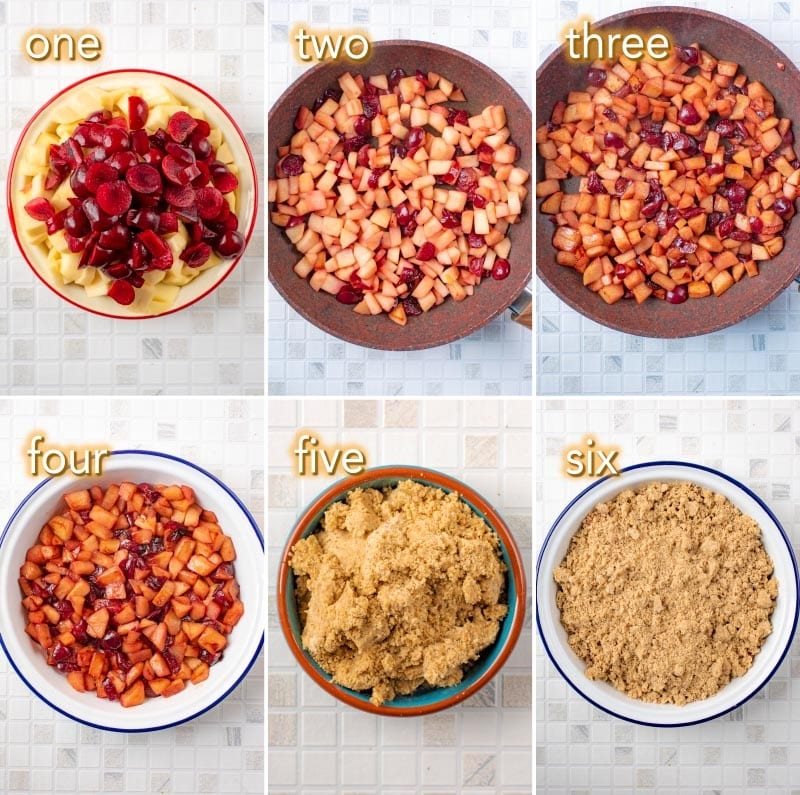 Six steps to making Apple and Cherry Crumble