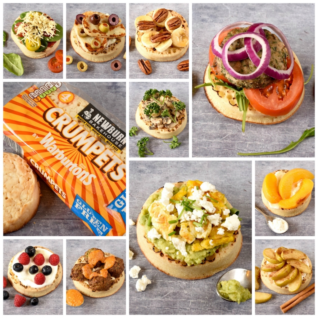 A collage of 10 Vegetarian Crumpet Toppings