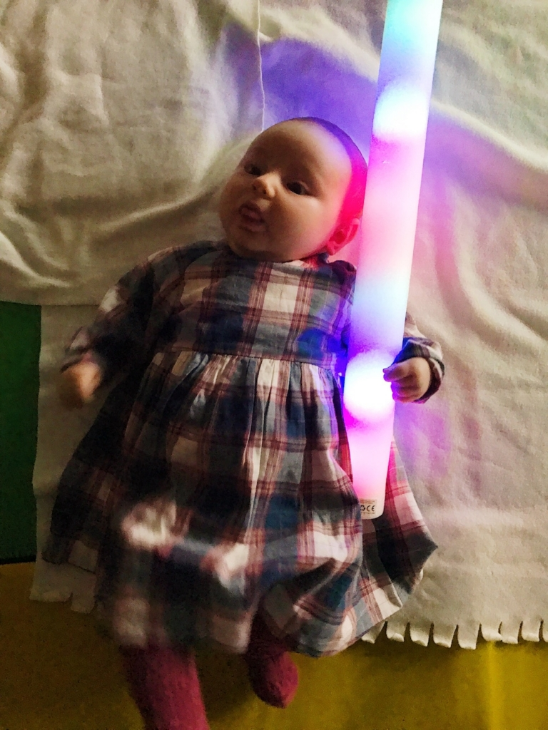 Avery with a light sabre