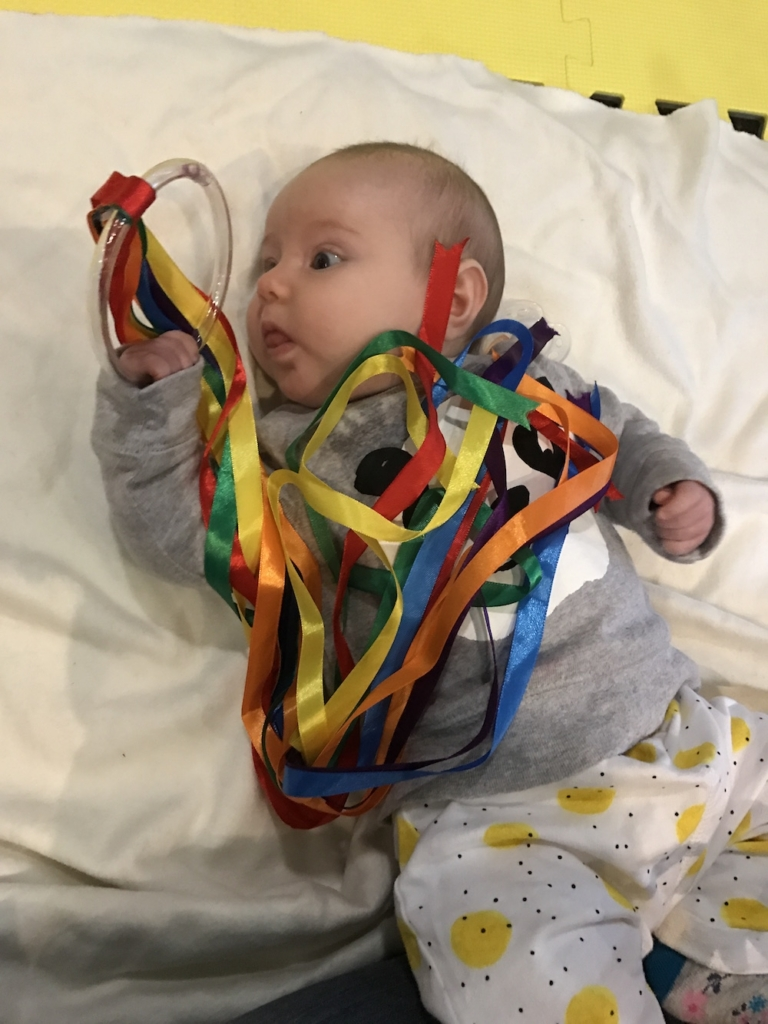 Avery with ribbons