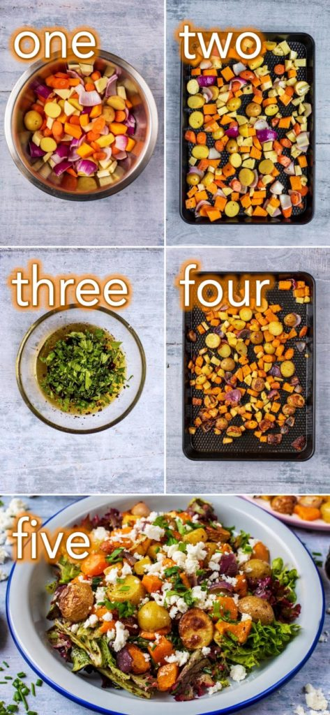 Step by step process to making Roasted Vegetable Winter Salad