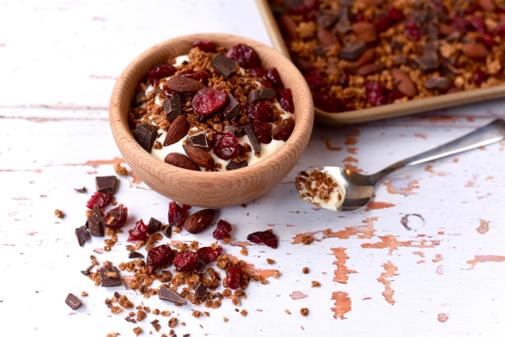 Dark Chocolate and Cranberry Granola - Hungry Healthy Happy
