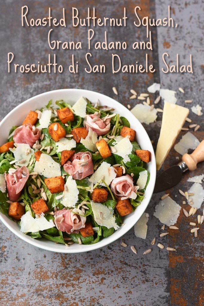 Roasted Butternut Squash, Grana Padano and Prosciutto di San Daniele Salad title