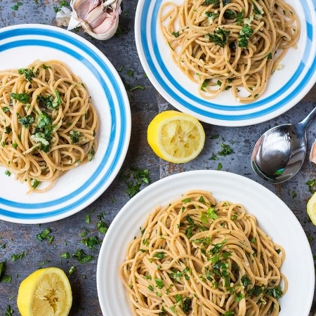 15 Minute Garlic and Herb Spaghetti featured