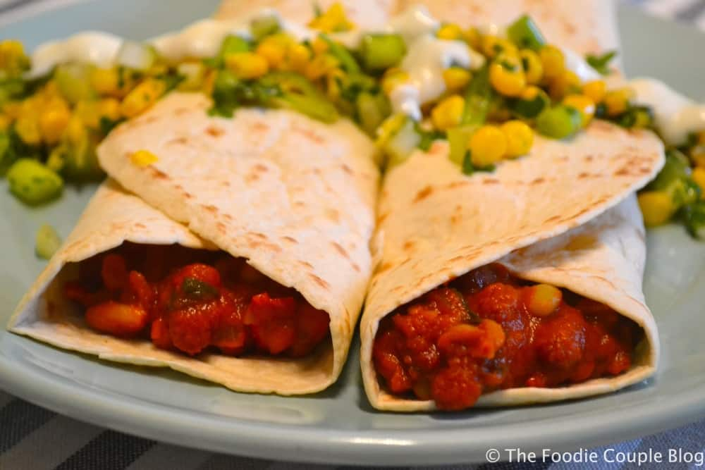 Chilli Bean Burrito with Corn Salsa