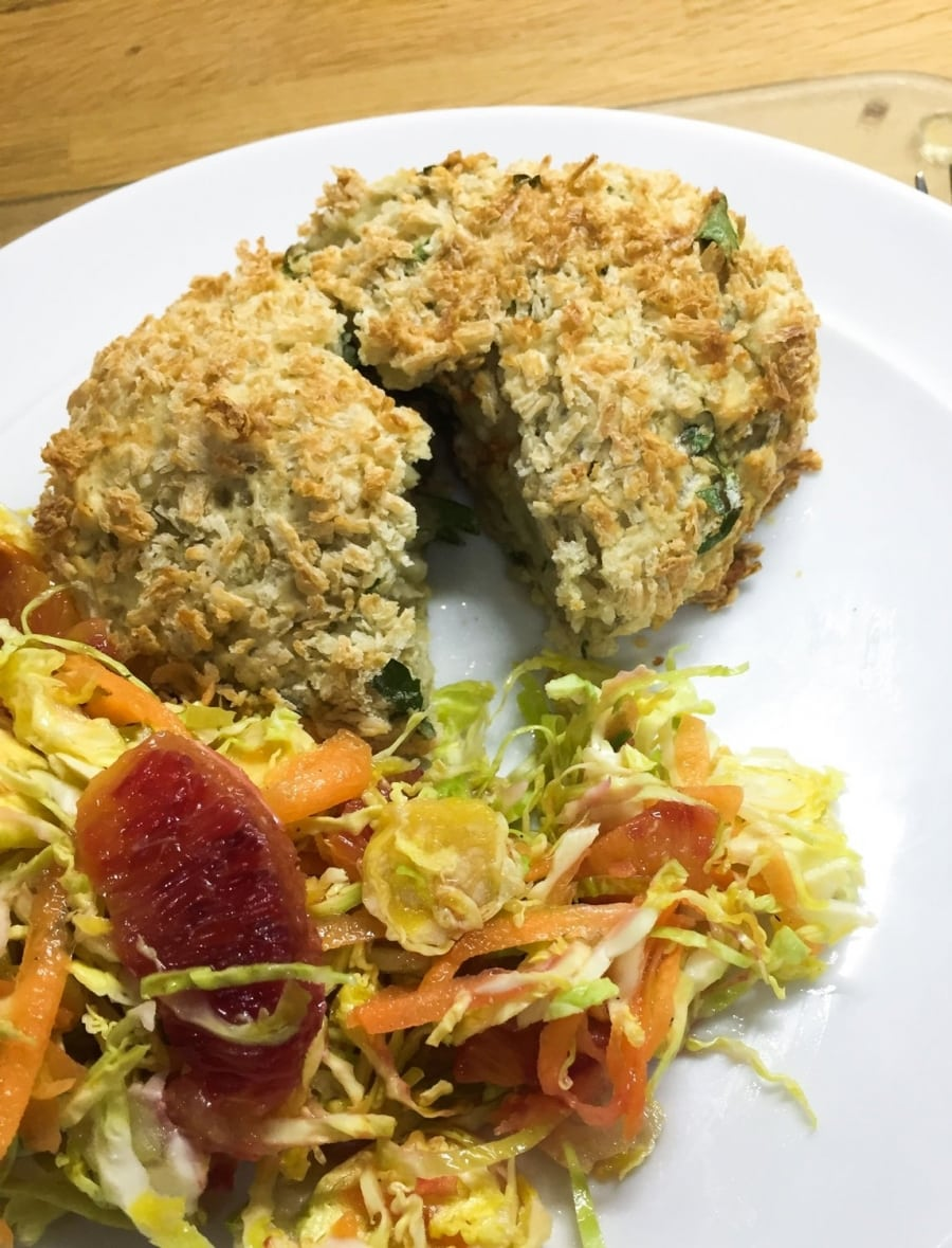 Fava Bean Kiev on a plate with some salad