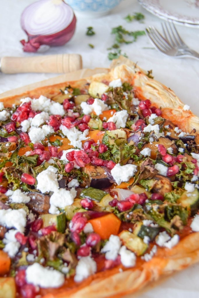 Harrissa Kale Roasted Vegetable Tart