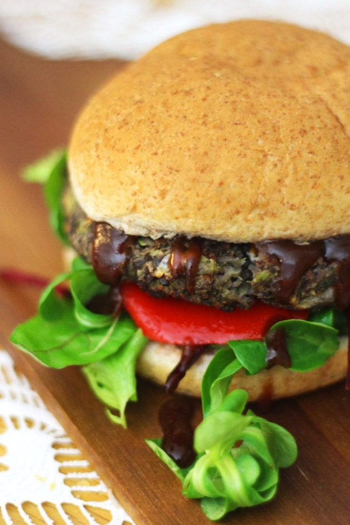Portobello Mushroom and Black Bean Burger