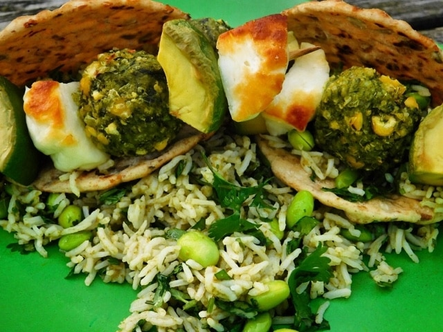 Super Greens, Halloumi and Avocado Skewers with Thai Green Rice