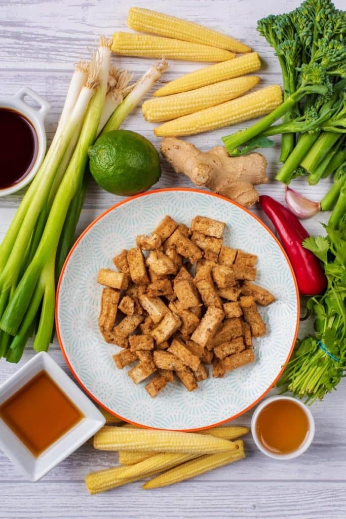 A plate of tofu surrounded by baby corn, spring onions, herbs and sauces