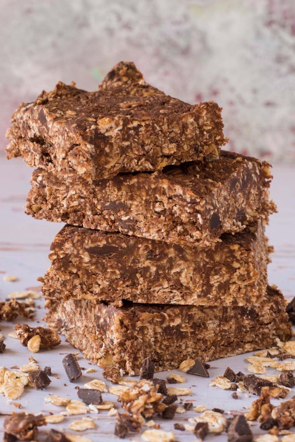 A stack of four Chocolate Peanut Butter Oat Squares