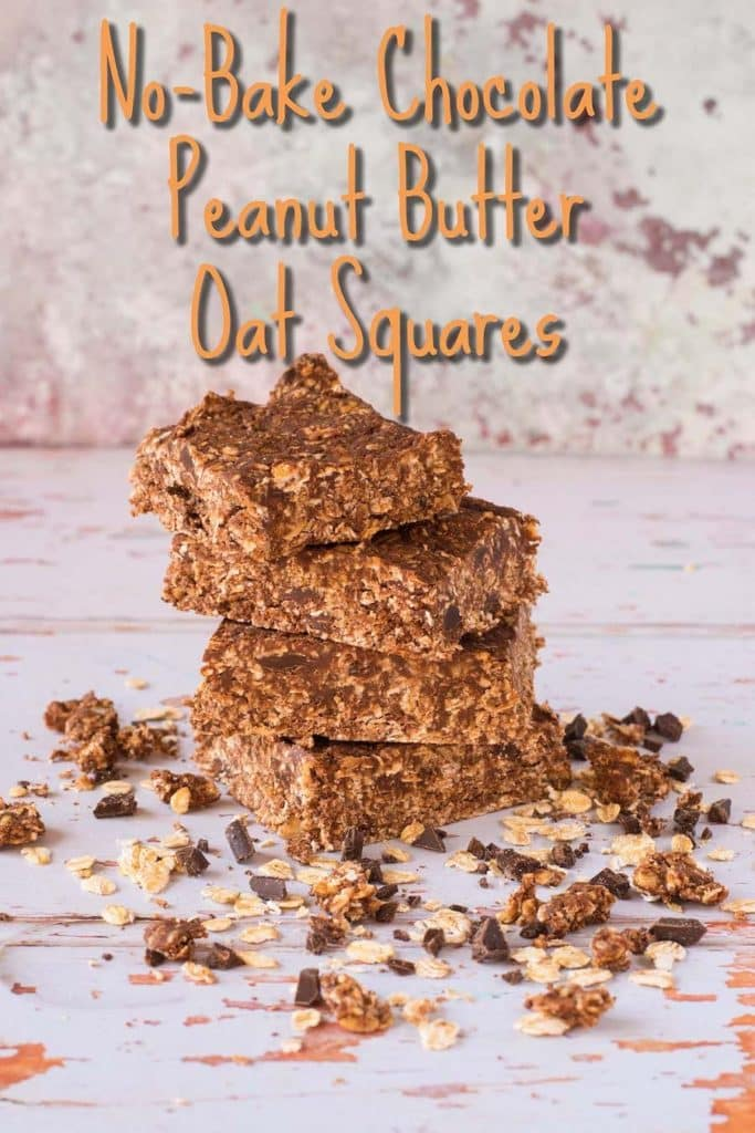 No-Bake Chocolate Peanut Butter Oat Squares title