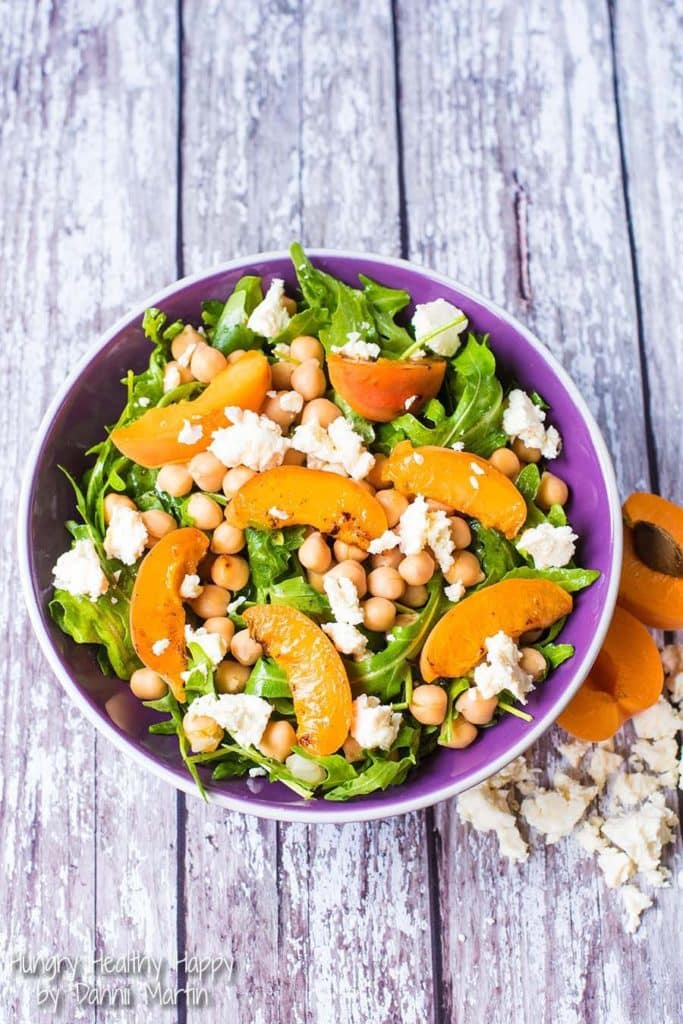 Apricots, chickpeas and feta cheese on a salad