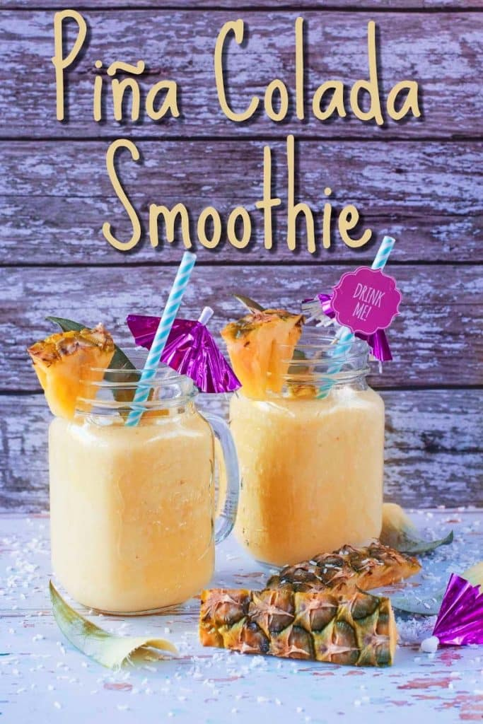 Two glasses of Pina Colada smoothie