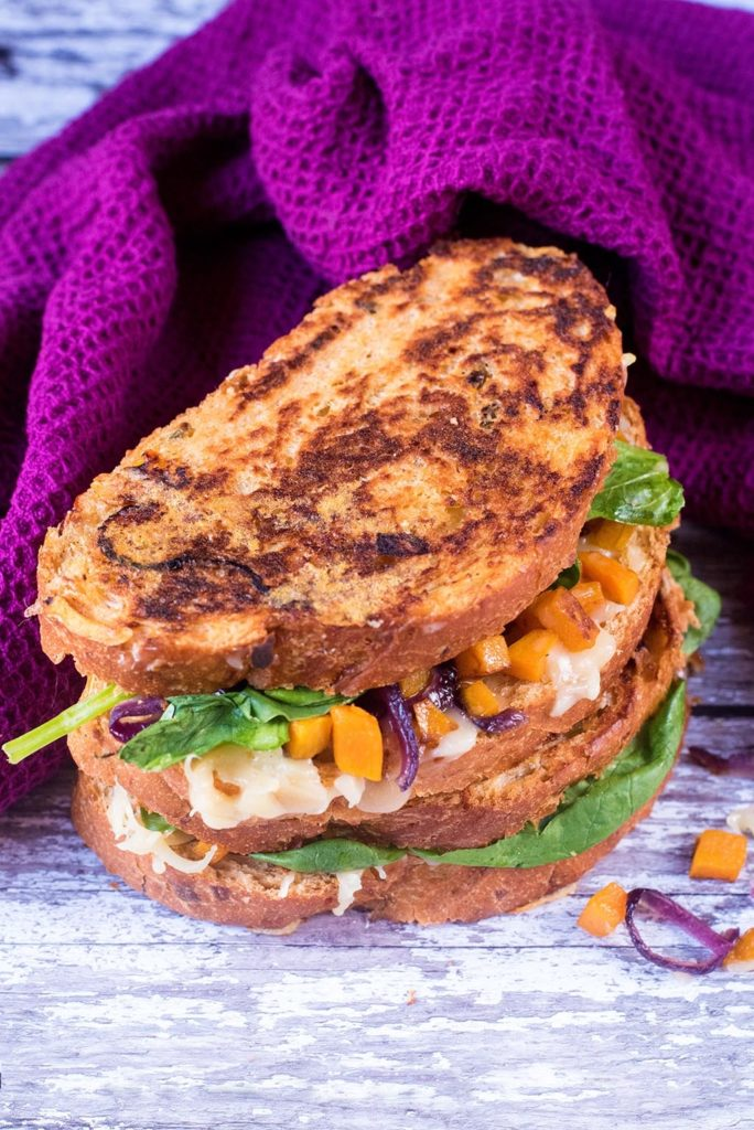 Spinach and Butternut Squash Cheese Toasties
