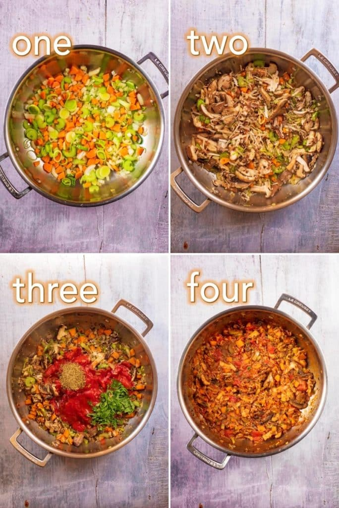 step by step process of making mushroom bolognese