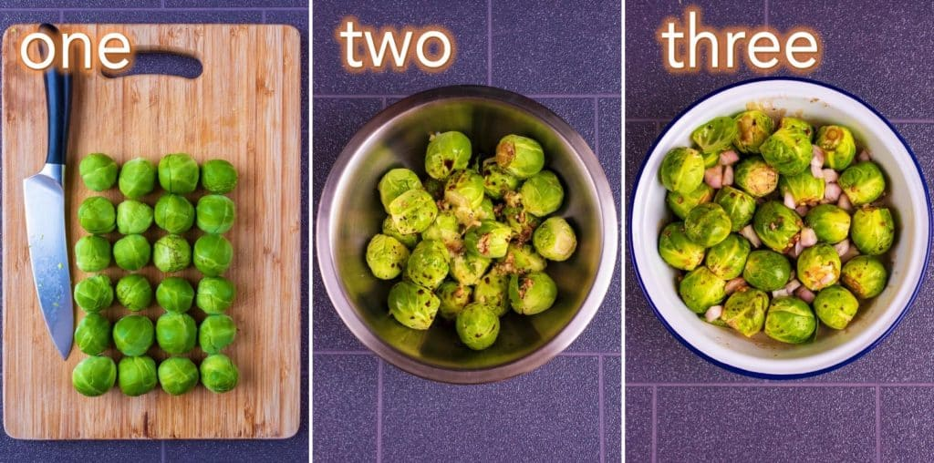 Step by step process of making Balsamic Roasted Brussels Sprouts