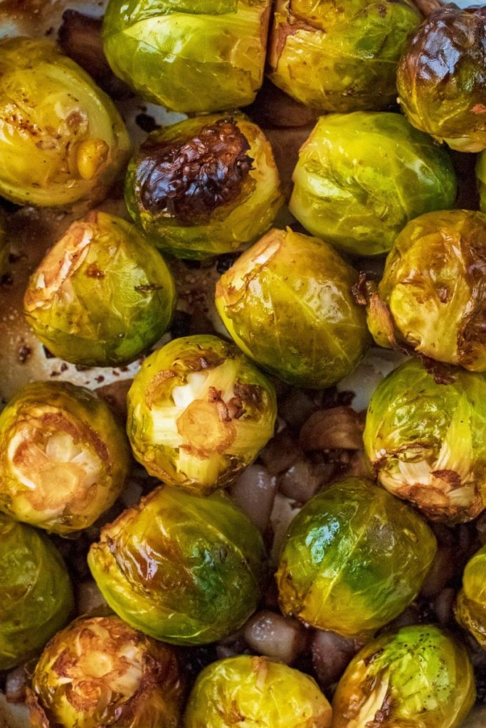 Balsmaic Roasted Brussel Sprouts with charred leaves