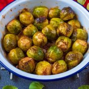 Balsmaic Roasted Brussels Sprouts in an enamel dish