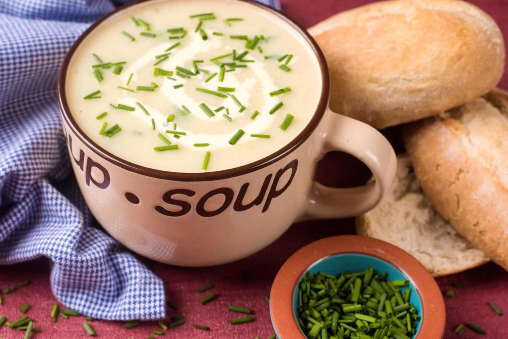 Landscape shot of Potato and Leek Soup With Chives