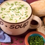 Landscape shot of Potato & Leek Soup With Chives