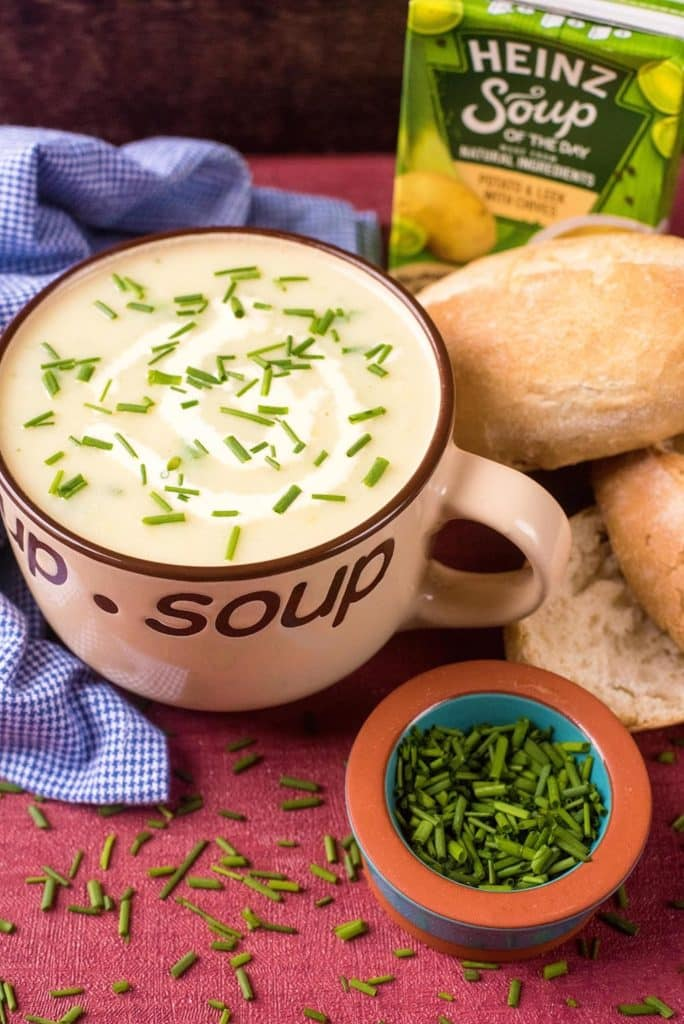 Potato and Leek Soup With Chives with Heinz pack