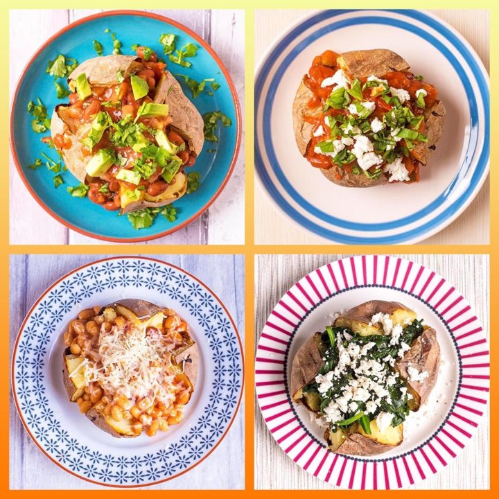A collage for 10 Healthy Baked Potato Toppings showing four baked potatoes