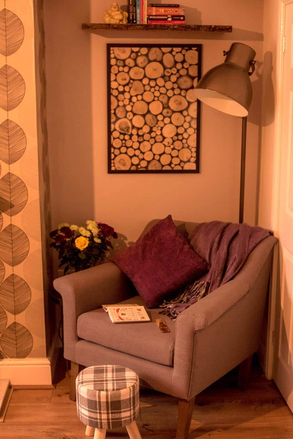 wide shot of cosy reading nook