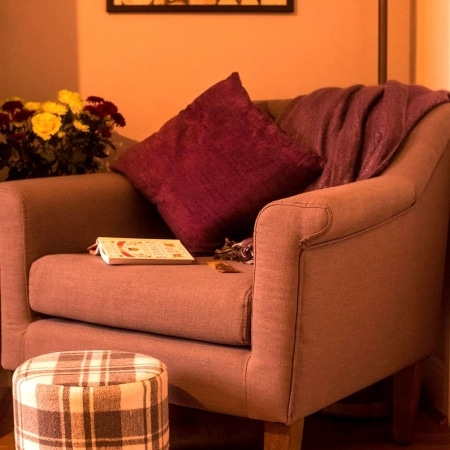 Close up of cosy reading nook