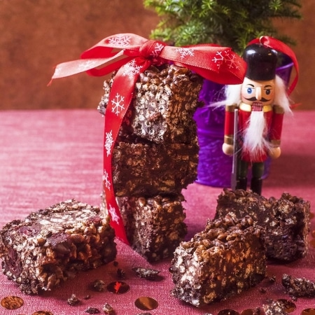 Square picture of Festive Chocolate Crunch Bars