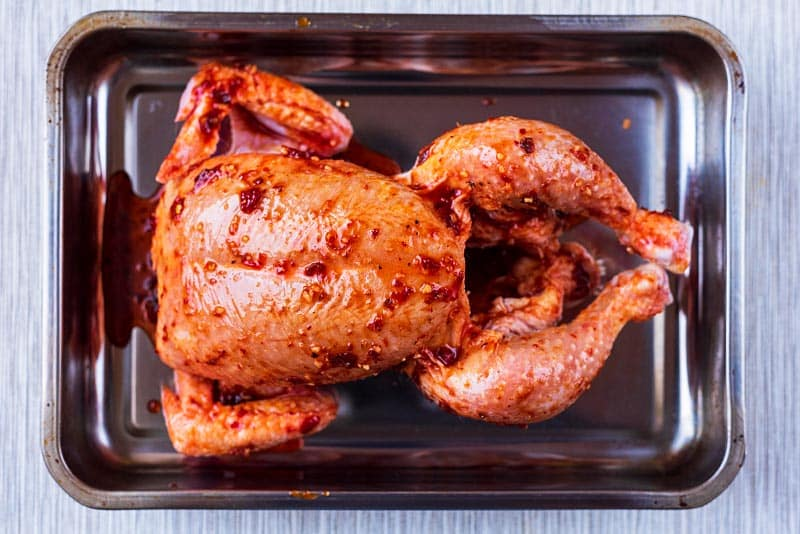 A whole raw chicken in a roasting tin smothered in harissa marinade
