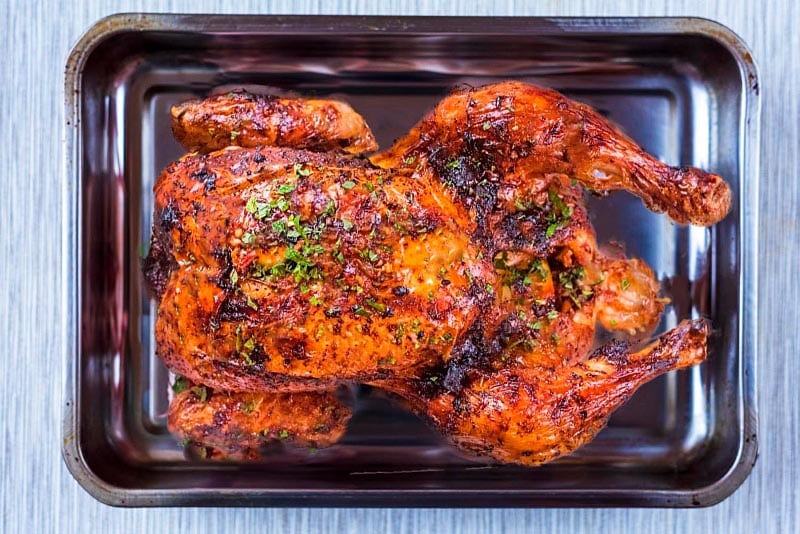 Roasted Harissa Chicken in a roasting tin