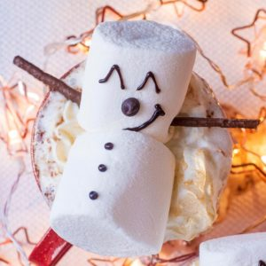 Close up of Snowman Hot Chocolate