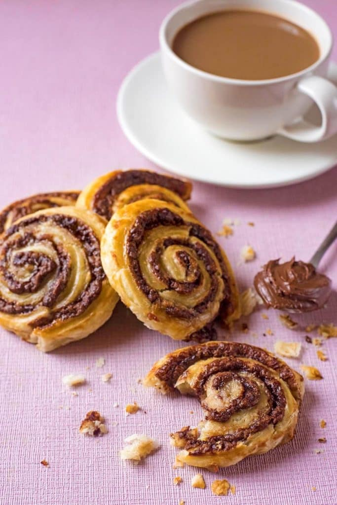 Chocolate and Banana Pinwheels with coffee