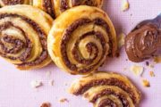 top down close up of Chocolate and Banana Pinwheels