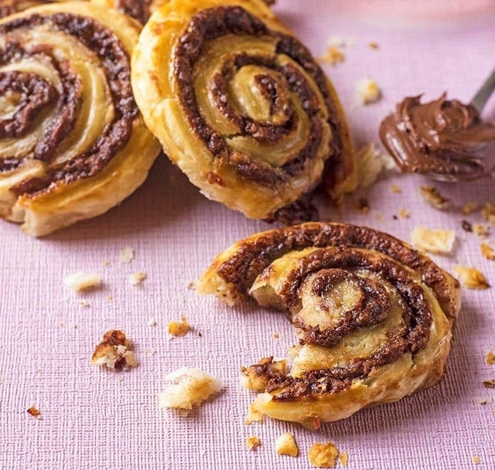 close up of Chocolate and Banana Pinwheels