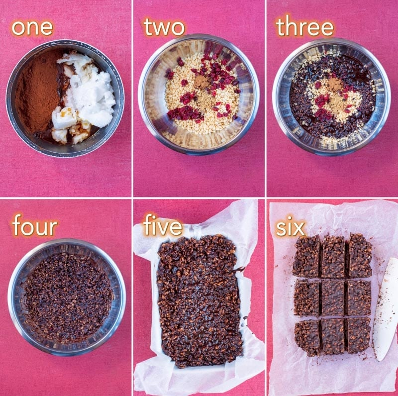 step by step process of how to make Christmas Rice Krispie treats