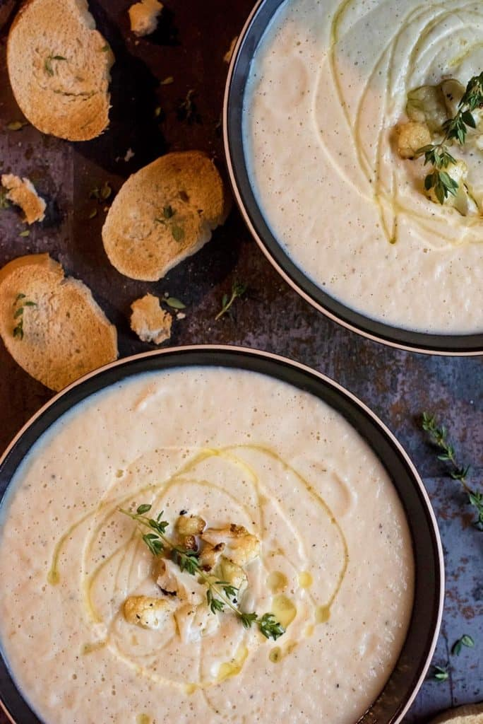 Top down shot of Creamy Roasted Cauliflower Soup