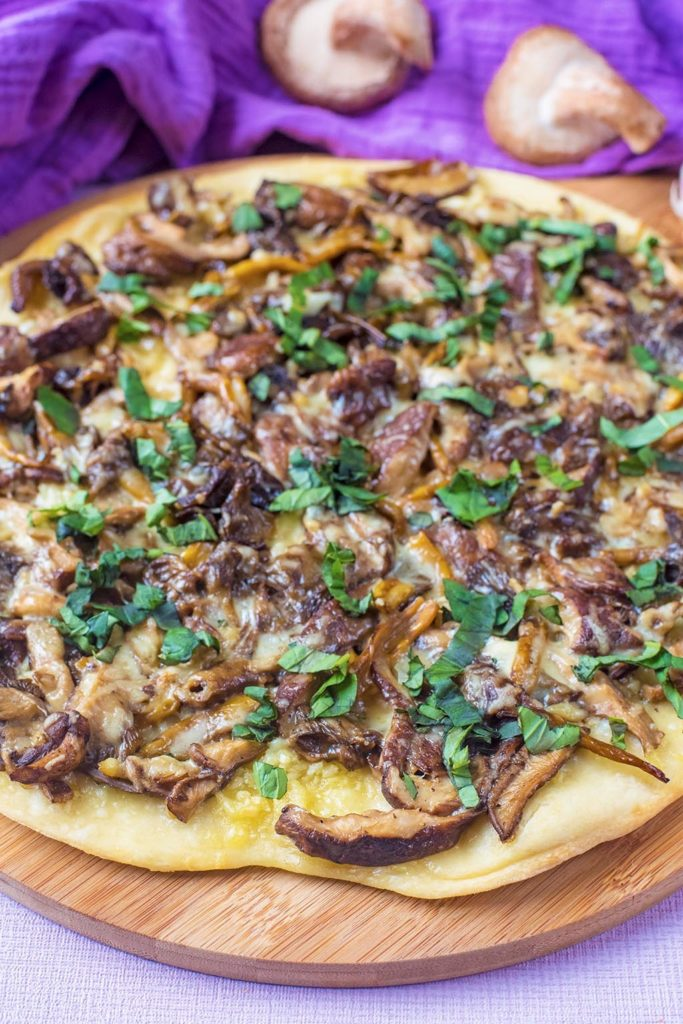 Portrait shot of Garlic Mushroom Pizza