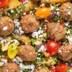 Greek Lamb Traybake of lamb meatballs, vegetables and feta cheese