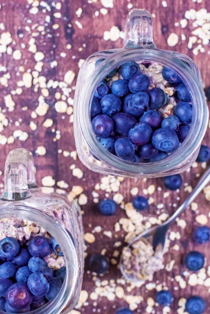 Top down shot of Blueberry Muffin Overnight Oats