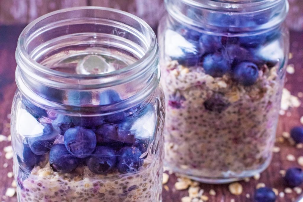 Landscape shot of Blueberry Muffin Overnight Oats