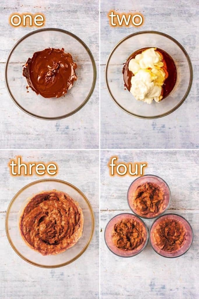 Step by step process of making chocolate dessert