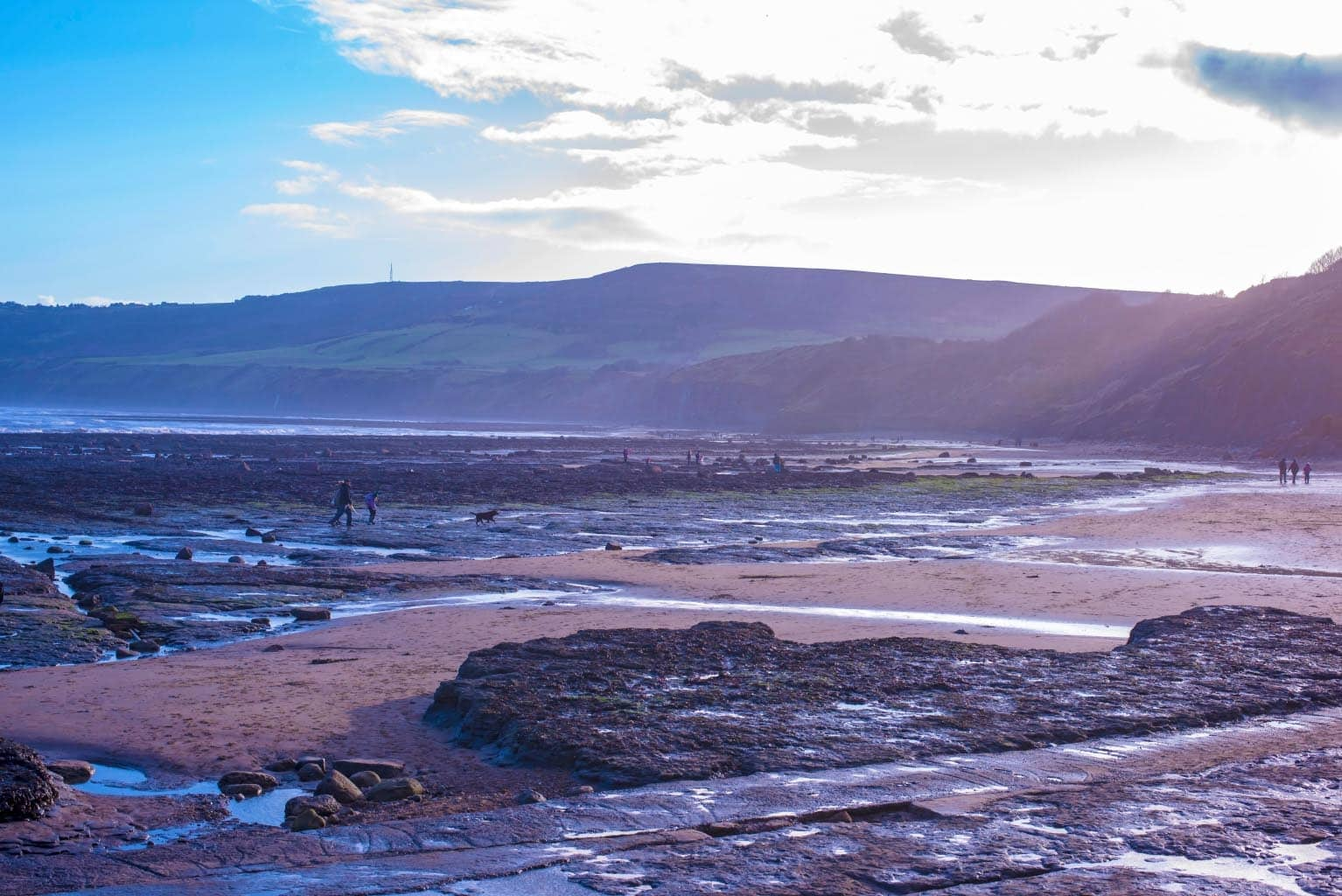 A shot over Robin Hood Bay with hills in the background