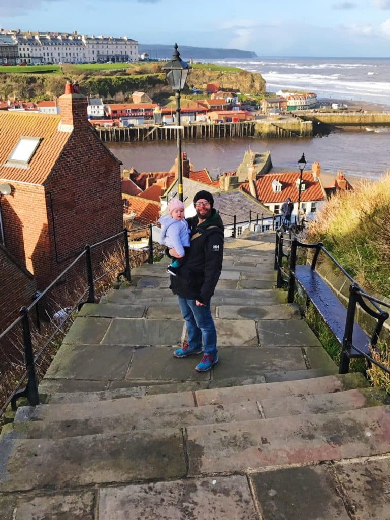 Dave and Avery on the 199 steps in Whitby