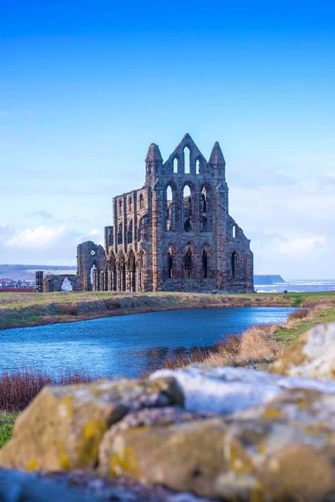 Whitby Abbey across lake