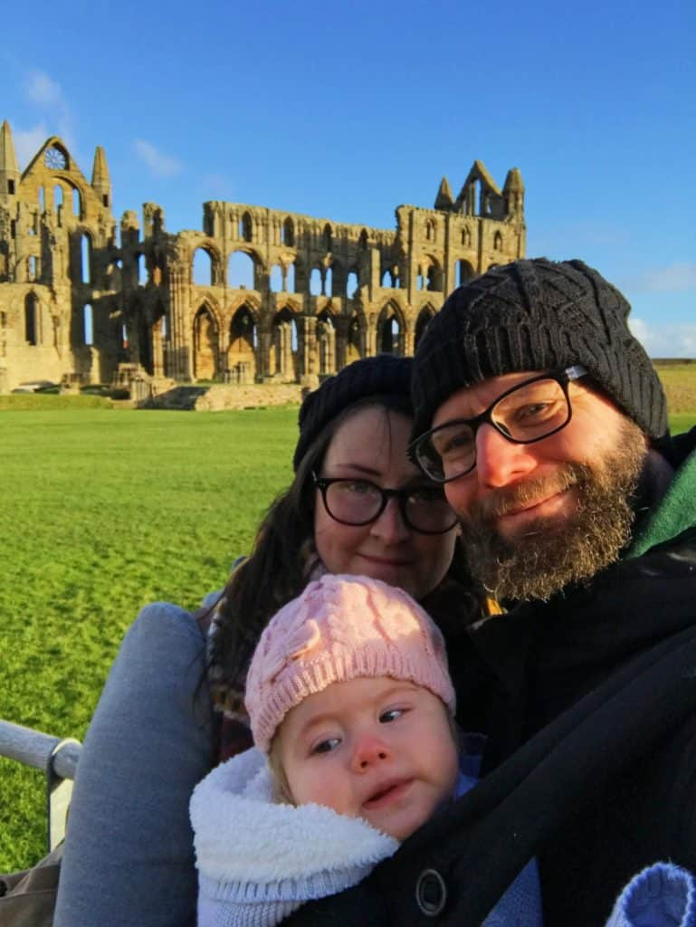Dannii, Dave and Avery at Whitby Abbey