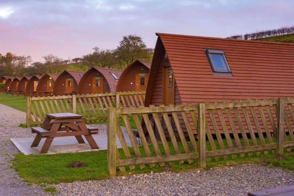 Horizontal shot of wigwams